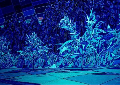 Pas De Deux im Winterwald Lichtfarbe blau